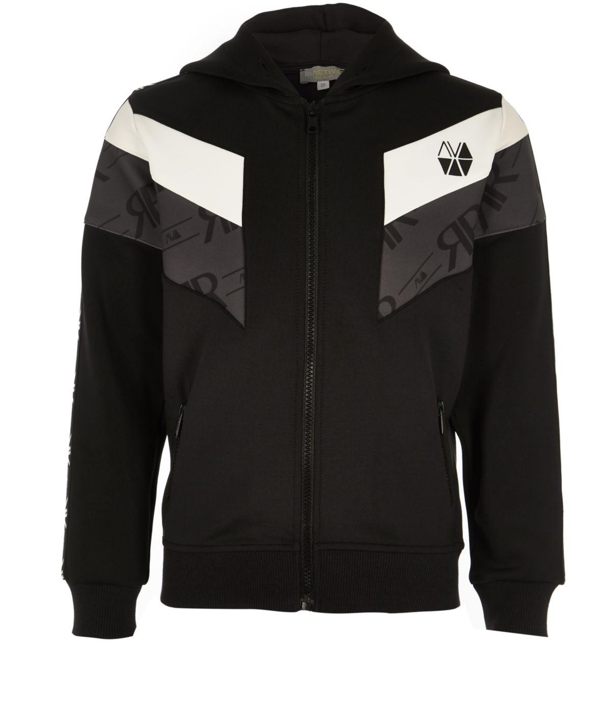 Boys RI Active black block zip hoodie