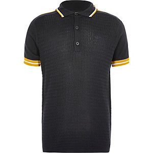 Boys navy cable polo shirt