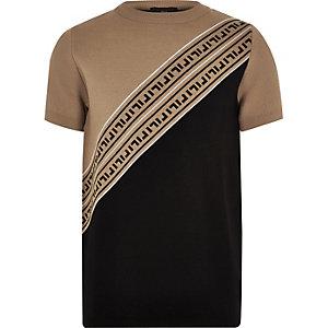 Bruin gebreid T-shirt met RI-logo voor jongens