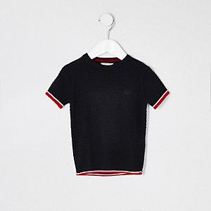 Mini - Marineblauw gebreid T-shirt met kabelmotief voor jongens