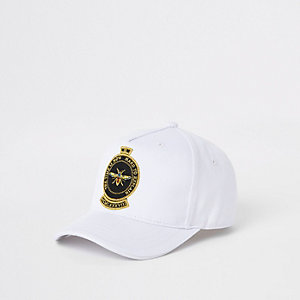 Mini boys white embroidered bee cap