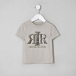 T-shirt grège à logo RI métallisé mini garçon