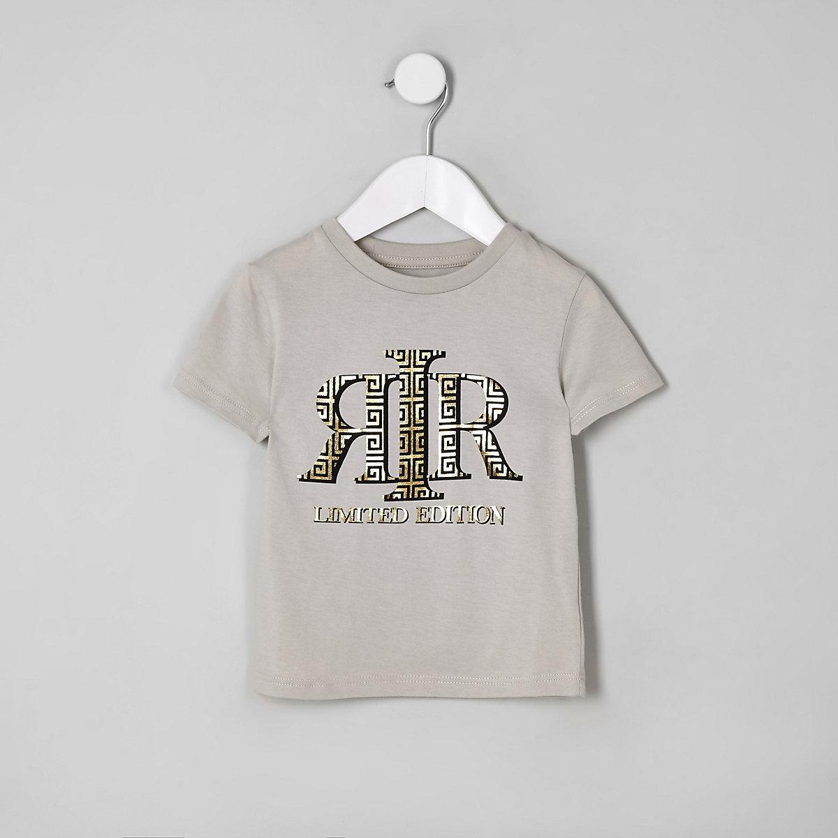 Mini boys stone RI foil print T-shirt