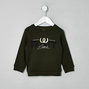 Mini - Kaki sweatshirt met 'Little prince'-print voor jongens
