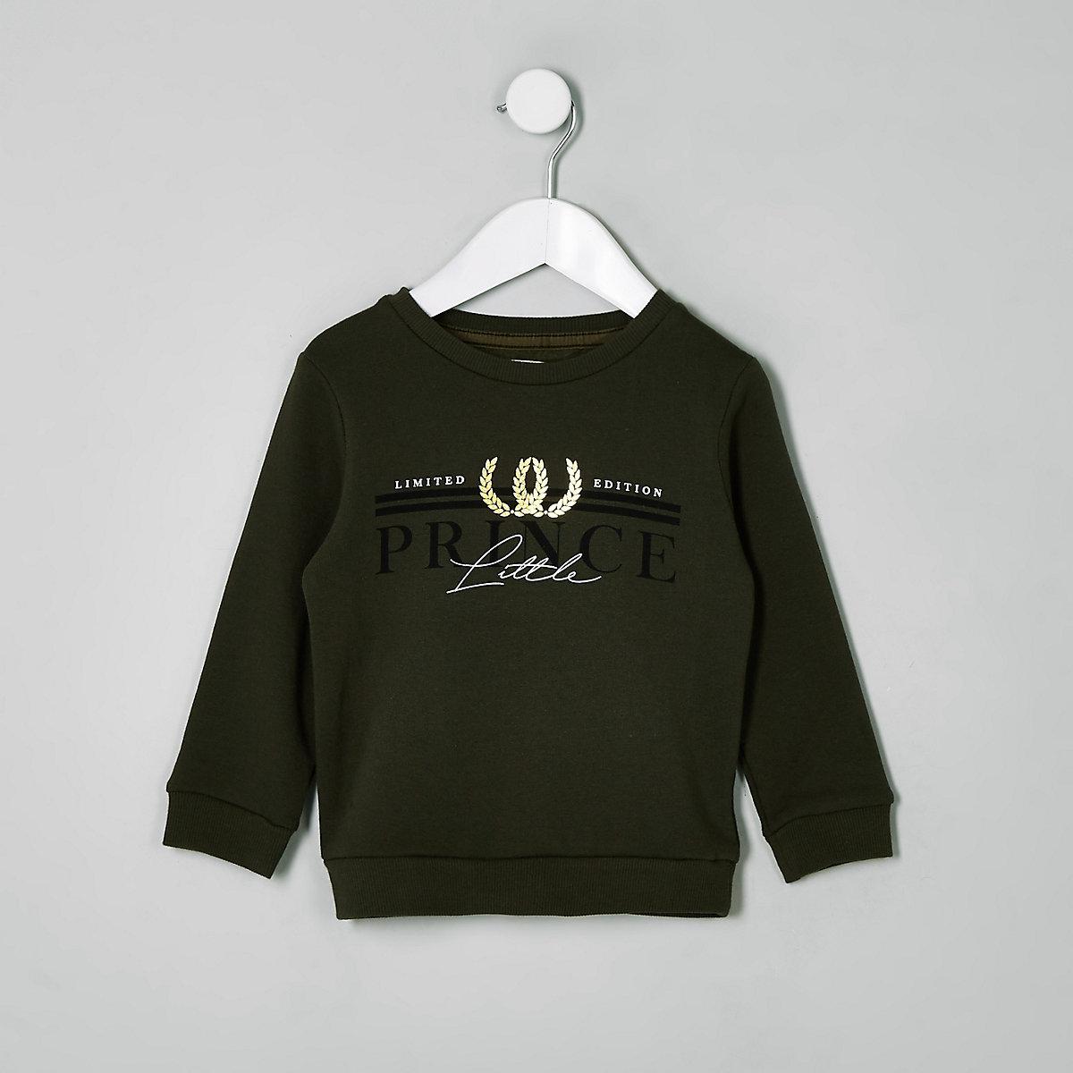Mini boys khaki 'Little prince' sweatshirt