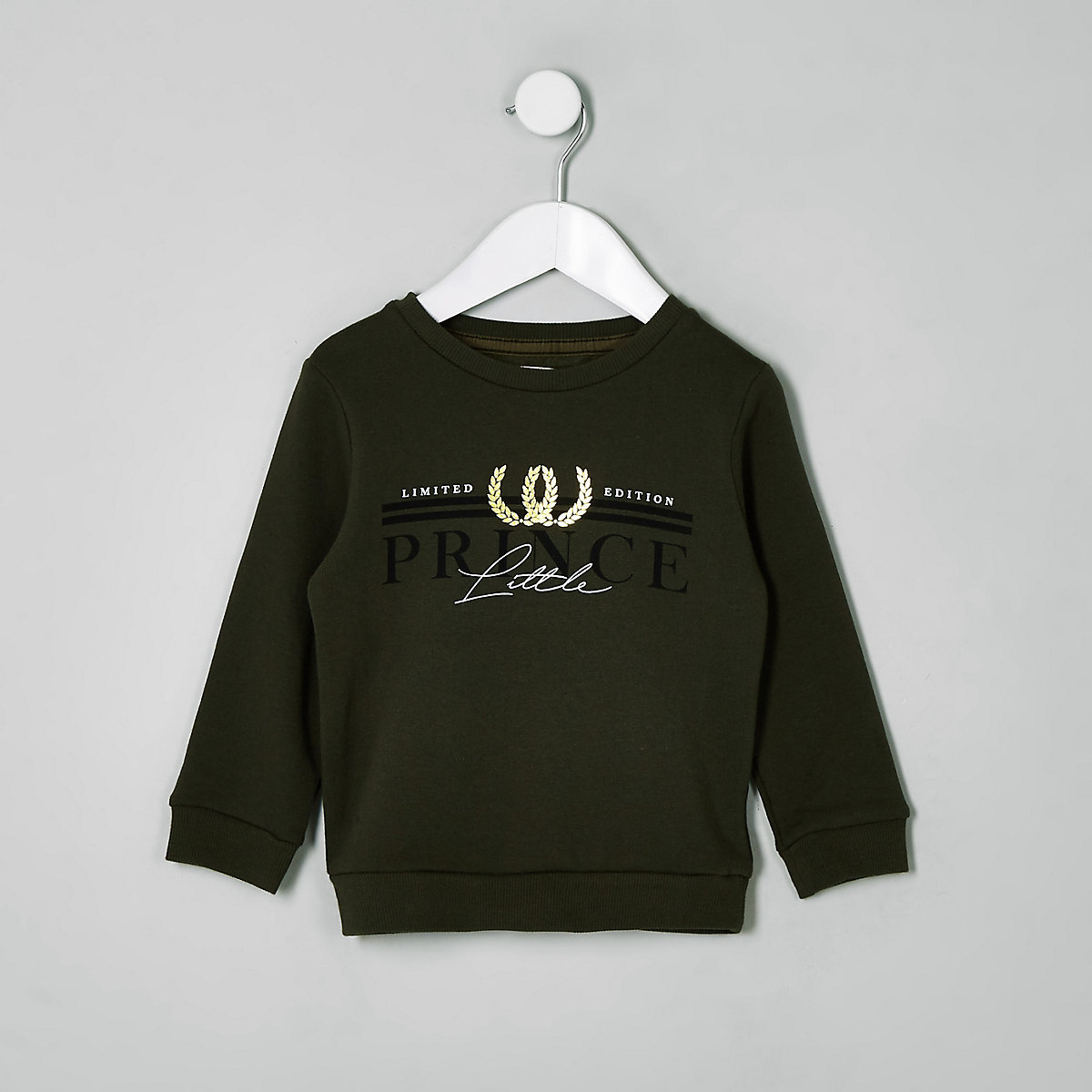 Mini boys khaki 'Little prince' sweatshirt