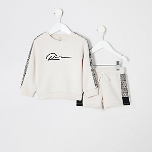 Mini boys ecru RI monogram sweatshirt outfit