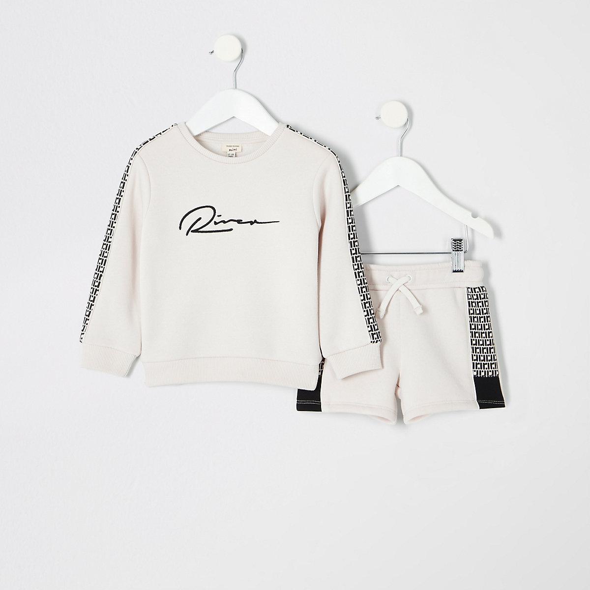 Mini boys ecru RI monogram sweatshirt outfit