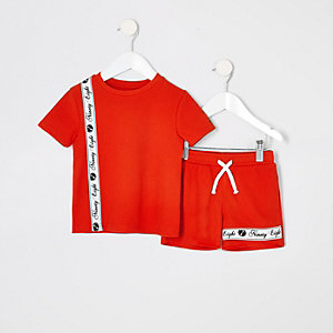 Mini - Rode piqué shortoutfit voor jongens