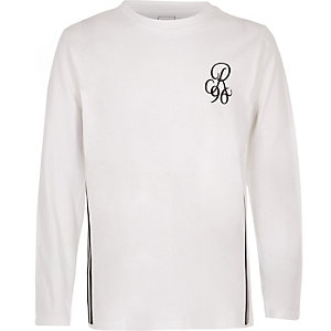 Boys white R96 long sleeve T-shirt