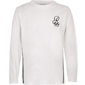 Wit T-shirt met lange mouwen en 'R96'-print voor jongens