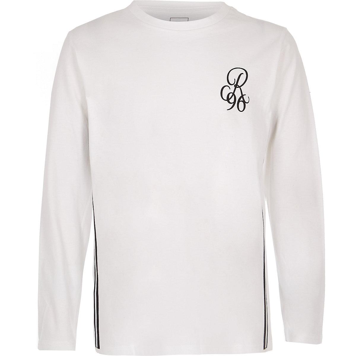 Boys white R96 long sleeve T-shirt