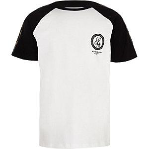 T-shirt blanc à bande R96 motif camouflage pour garçon