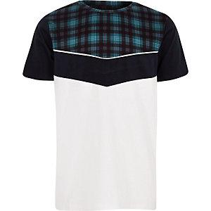 T-shirt à carreaux blanc avec chevrons pour garçon