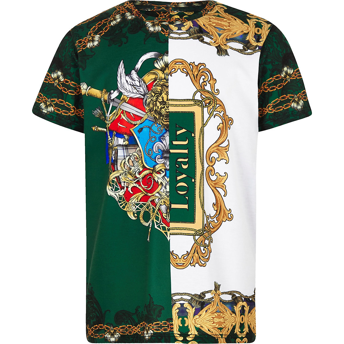 Boys green baroque print T-shirt