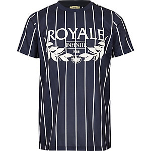 T-shirt à imprimé « Royale » rayé bleu pour garçon