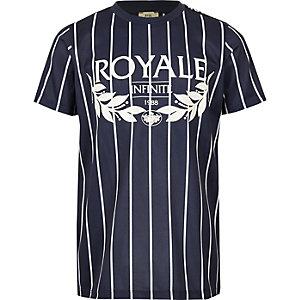 Blauw gestreept T-shirt met 'Royale'-print voor jongens