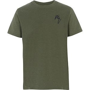 Kaki T-shirt met textuur voor jongens