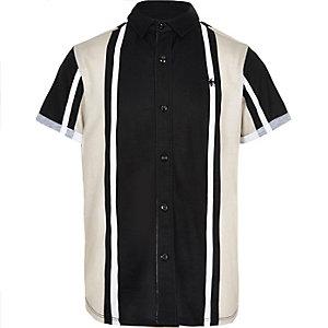 Boys black vertical stripe shirt