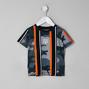 Mini - Kaki gestreept T-shirt met camouflageprint voor jongens
