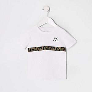 T-shirt blanc avec bande camouflage pour mini garçon