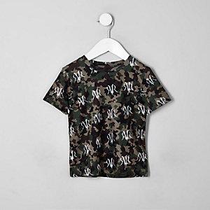 Mini - Kaki T-shirt met camouflageprint voor jongens