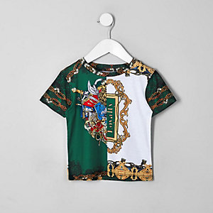 Grünes T-Shirt mit Barockprint
