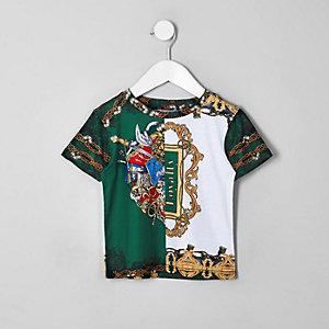 T-shirt à imprimé baroque vert pour mini garçon