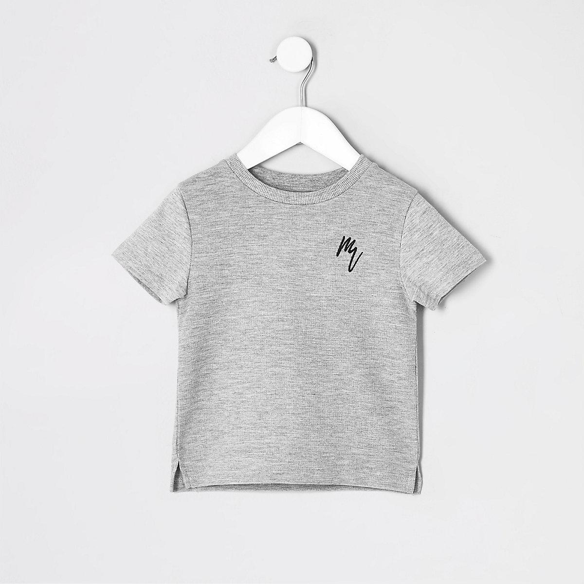 Mini boys grey marl waffle T-shirt