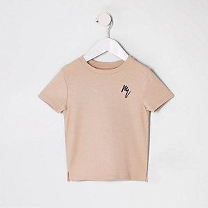 Kiezelkleurig T-shirt met wafeldessin voor mini boys