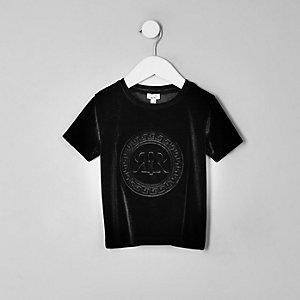 T-shirt en velours noir à logo RI pour mini garçon