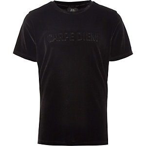 Boys black 'Carpe diem' velour T-shirt