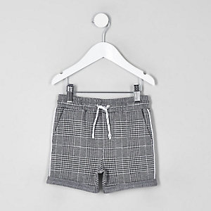 Mini boys grey check jersey shorts
