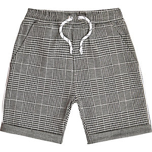 Boys grey check jersey shorts
