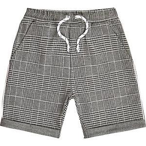 Graue, karierte Jersey-Shorts