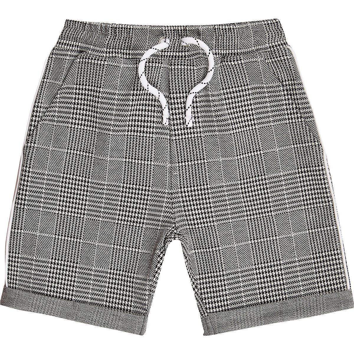 Boys grey check jersey shorts