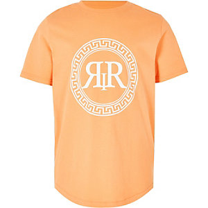 Boys orange RI icon print T-shirt