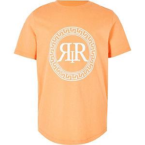 T-shirt orange à imprimé emblème RI pour garçon