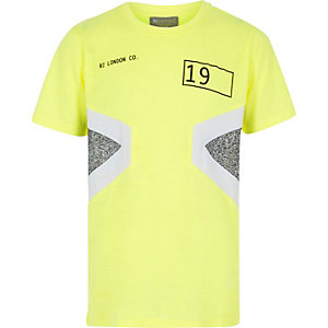 RI Active – Neongelbes T-Shirt in Blockfarben
