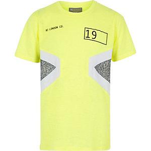 RI Active – T-shirt jaune fluo colour block pour garçon
