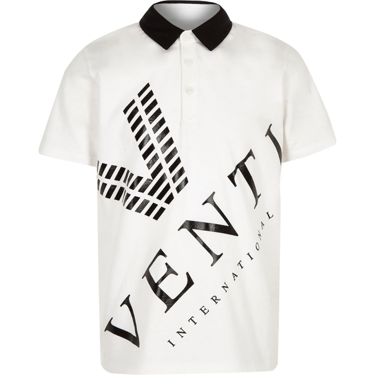 Boys white 'Venti' print polo shirt
