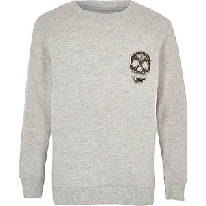 Boys grey rhinestone skull sweatshirt