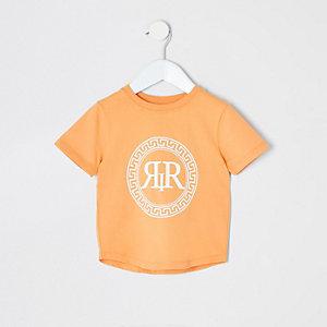 T-shirt orange à imprimé emblème RI mini garçon