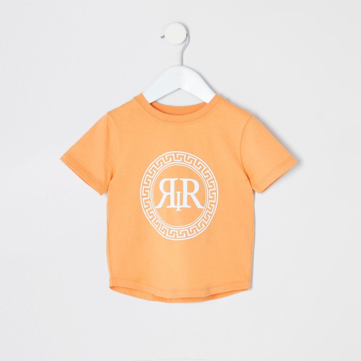 Mini boys orange RI icon print T-shirt