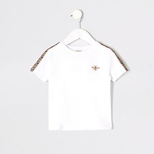 Mini - Wit T-shirt met geborduurde wesp voor jongens