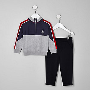Mini boys grey funnel neck knit jumper outfit