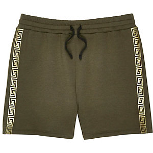 Shorts in Khaki mit Streifendesign