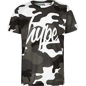 Hype - Grijs T-shirt met camouflageprint voor jongens