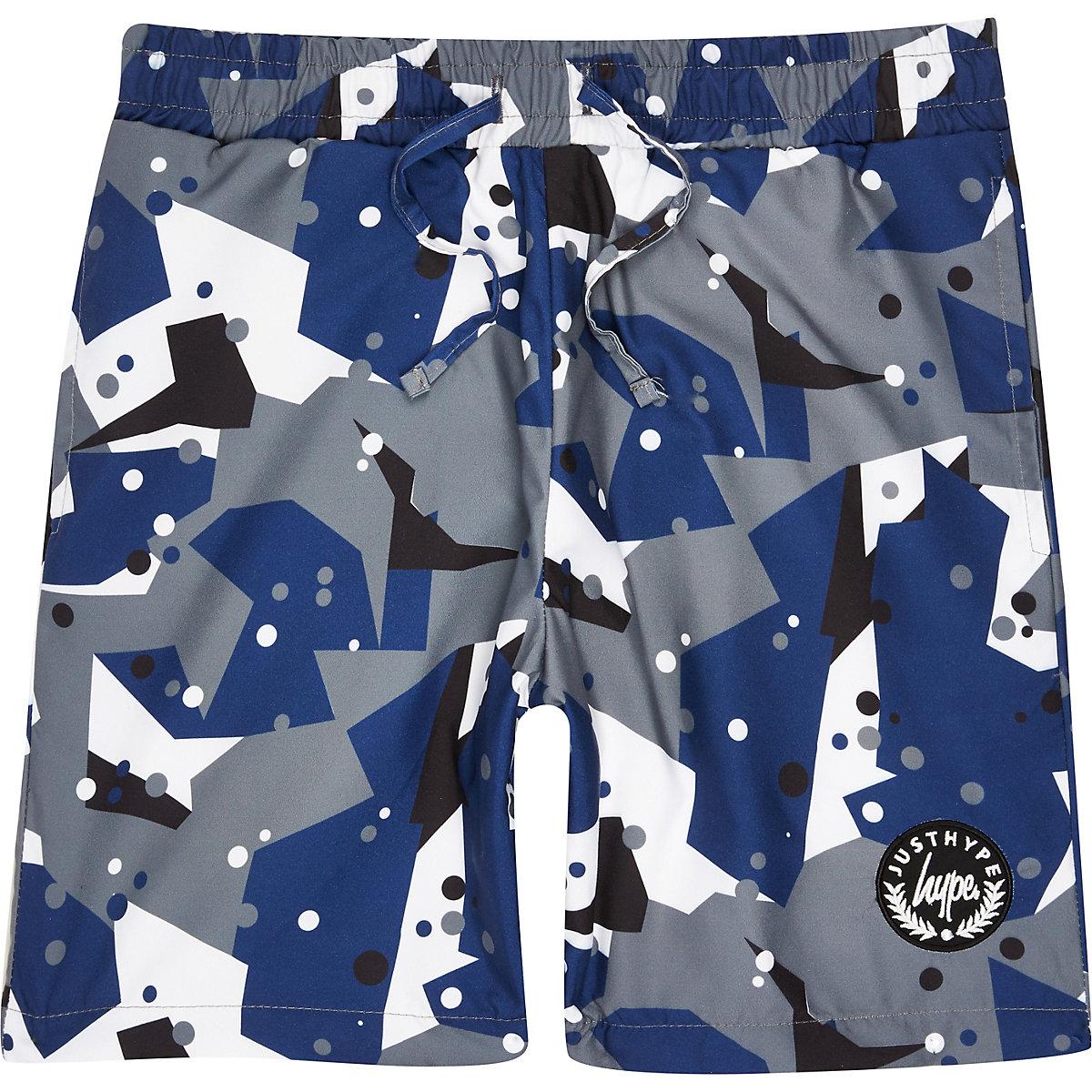 Boys grey Hype camo swim trunks