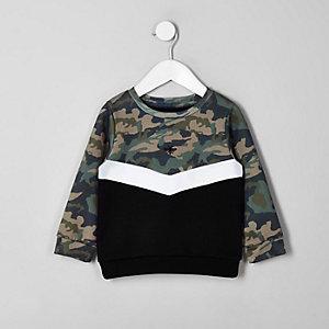 Mini - Kaki chevron sweatshirt voor jongens
